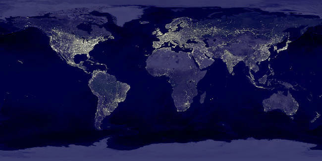 Can you see economic activity from space dqydj economic activity from space satellite image of the earth at night nasa gumiabroncs Gallery