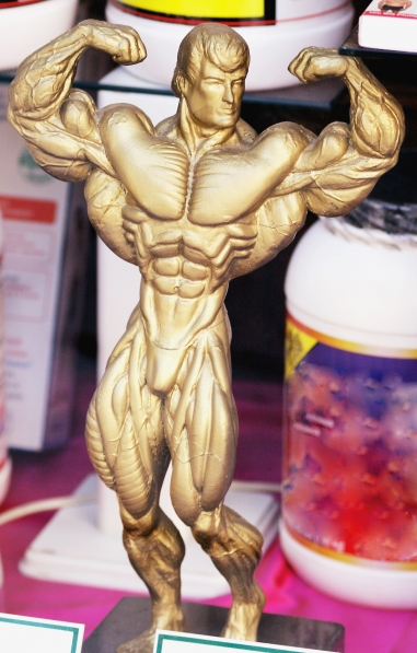 Bodybuilding trophy - since steroids are like saving too much, right?