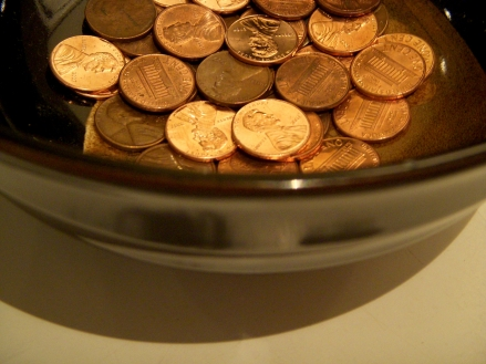 Bowl of pennies.