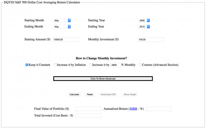 S&P 500 Periodic Reinvestment Calculator basic options screenshot