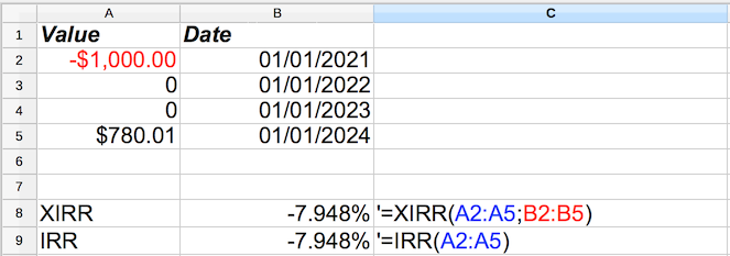 Compound Annual Growth Rate in Excel or OpenOffice