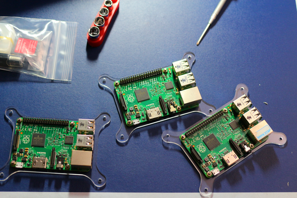 Picture of partially assembled Raspberry Pi Hadoop Cluster