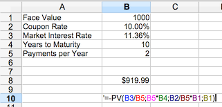 Bond Pricing Calculator - Clean Pricing in OpenOffice or Excel