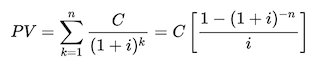 Present Value Formula for computing clean price