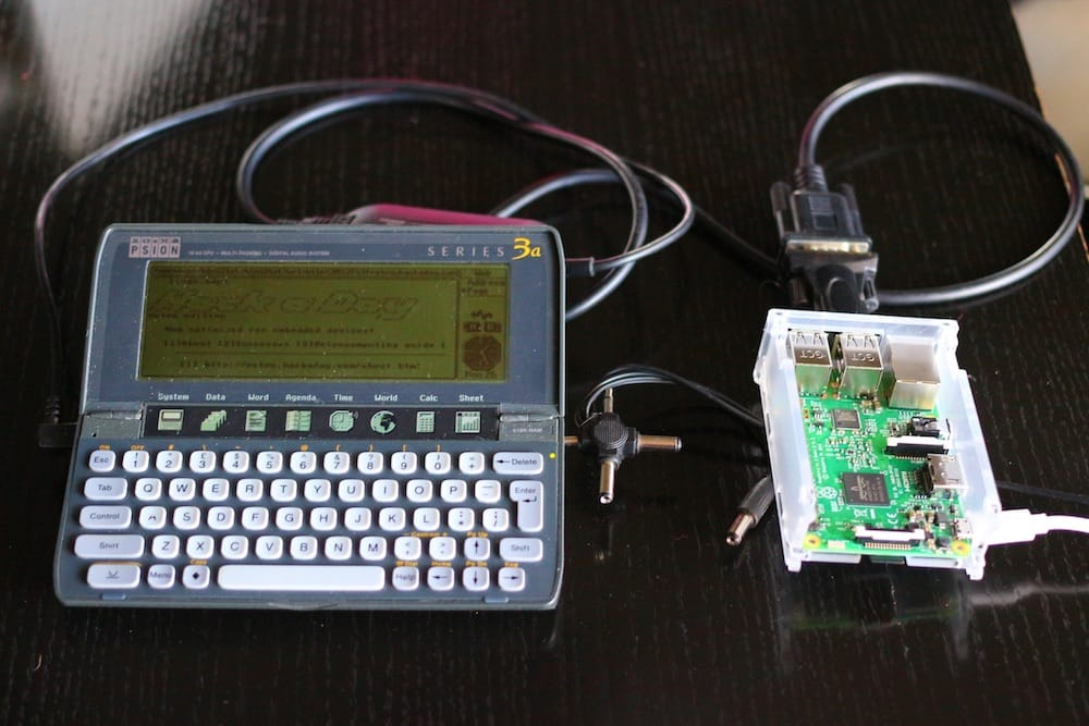 Psion 3a Next to Raspberry Pi 3