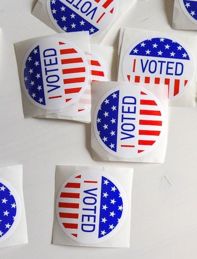 I voted stickers representing a protest vote.