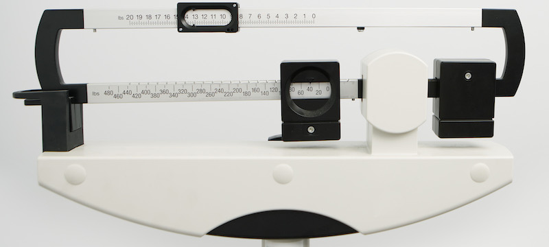 The BMI Calculator requires weight from a scale like this one.